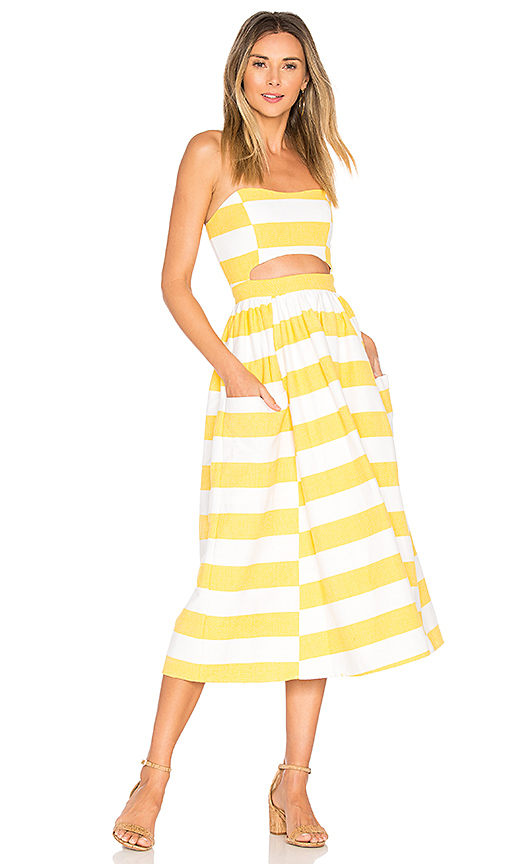 Mara Hoffman Cut Out Midi Dress in Yellow