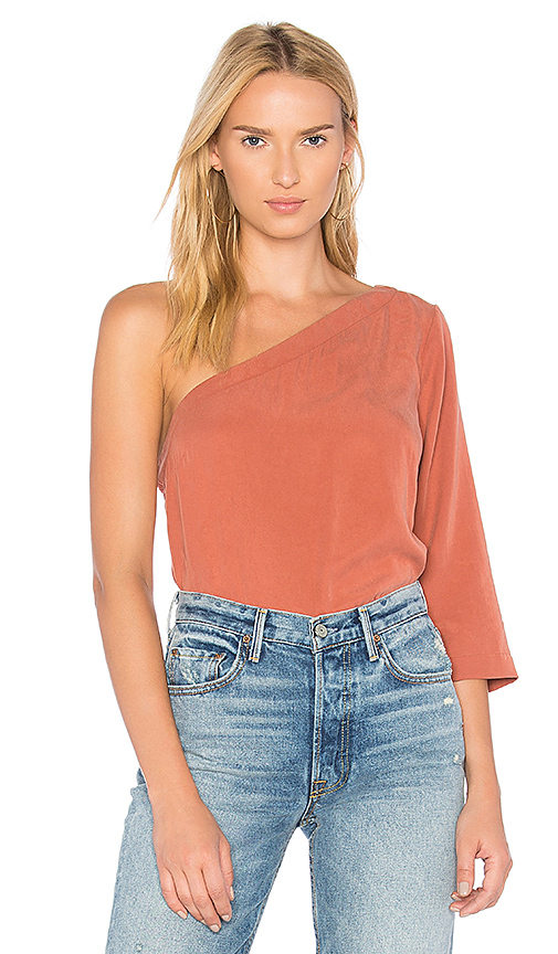 Mara Hoffman Claudia One Shoulder Top in Rust