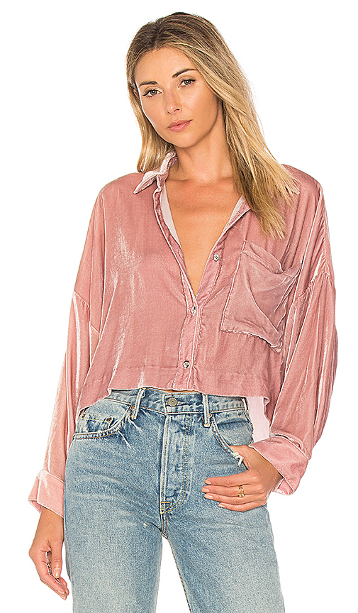 Mara Hoffman Inez Button Down Top in Mauve