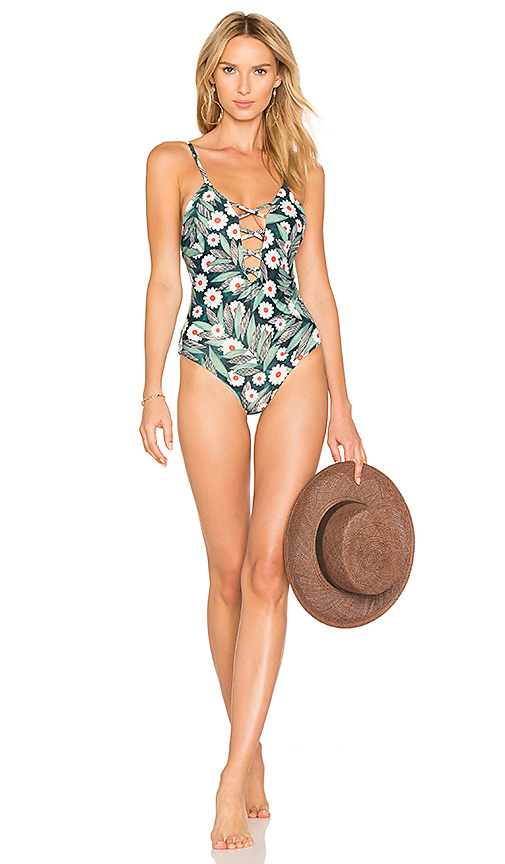 Mara Hoffman Criss Cross Front One Piece in Green