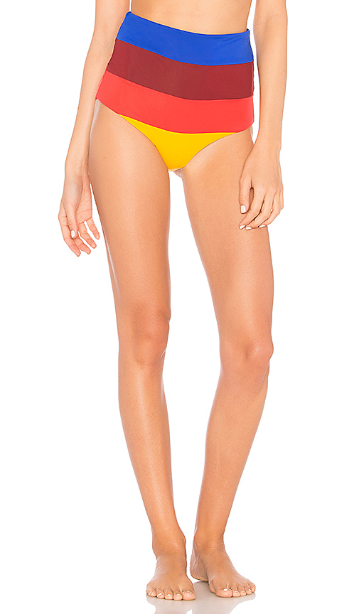 Mara Hoffman Lydia High Waist Bikini Bottom in Orange