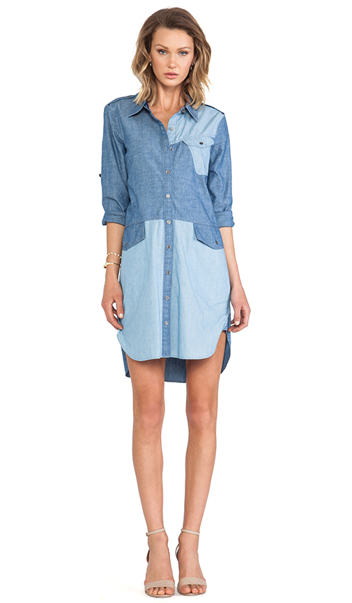 Marc by Marc Jacobs Catalina Chambray Solid Shirt Dress in Blue