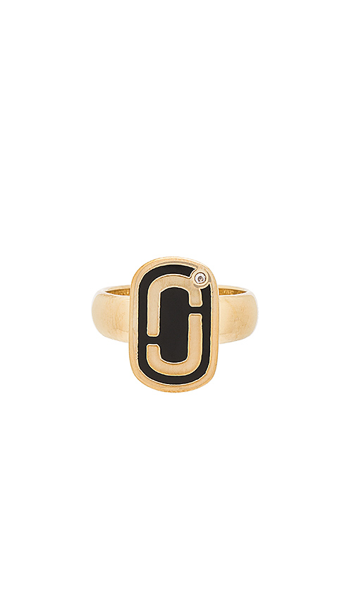 Marc Jacobs Icon Enamel Ring in Metallic Gold. - size 6 (also in 7)