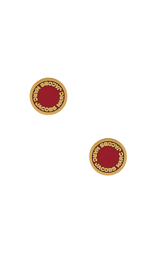 Marc Jacobs Enamel Logo Disc Studs in Metallic Gold