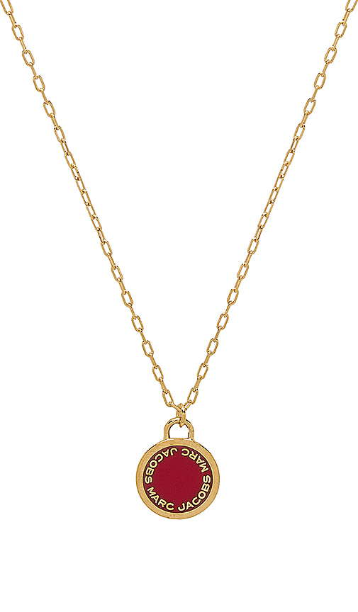 Marc Jacobs Enamel Logo Disk Pendant in Metallic Gold