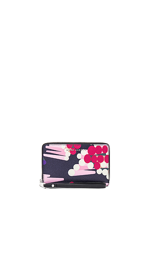 Photo of Marc Jacobs Saffiano Geo Spot Zip Phone Wristlet in Pink - shop Marc Jacobs bags sales