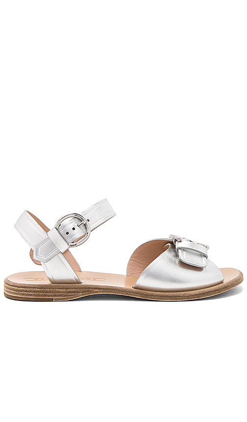 Marc Jacobs Horizon Flat Sandal in Metallic Silver