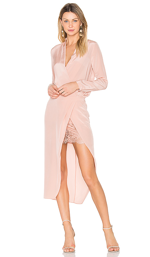 Michelle Mason x REVOLVE Long sleeve Wrap Dress in Blush. - size 0 (also in 2)