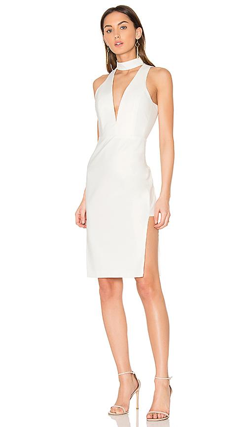 Michelle Mason Choker Plunge Dress in Ivory