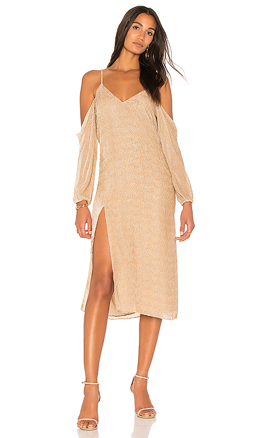 Michelle Mason Drop Shoulder Slip Dress in Beige