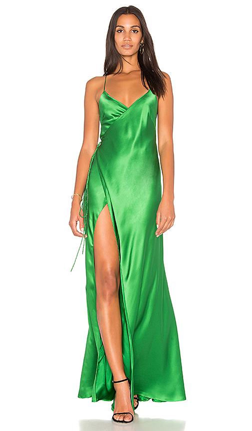 Michelle Mason Wrap Gown in Green