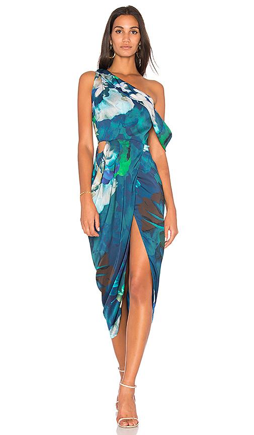 Michelle Mason Draped Midi Dress in Blue