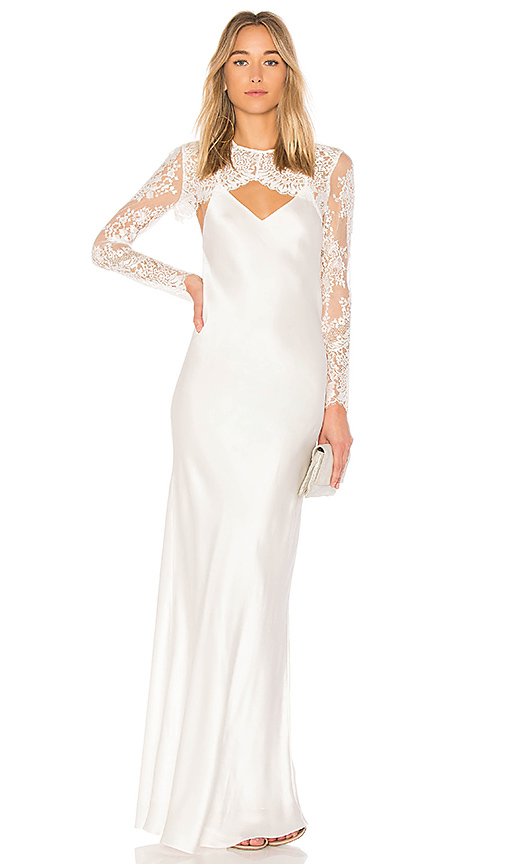 Michelle Mason x REVOLVE Bias Lace Shrug Gown in Ivory