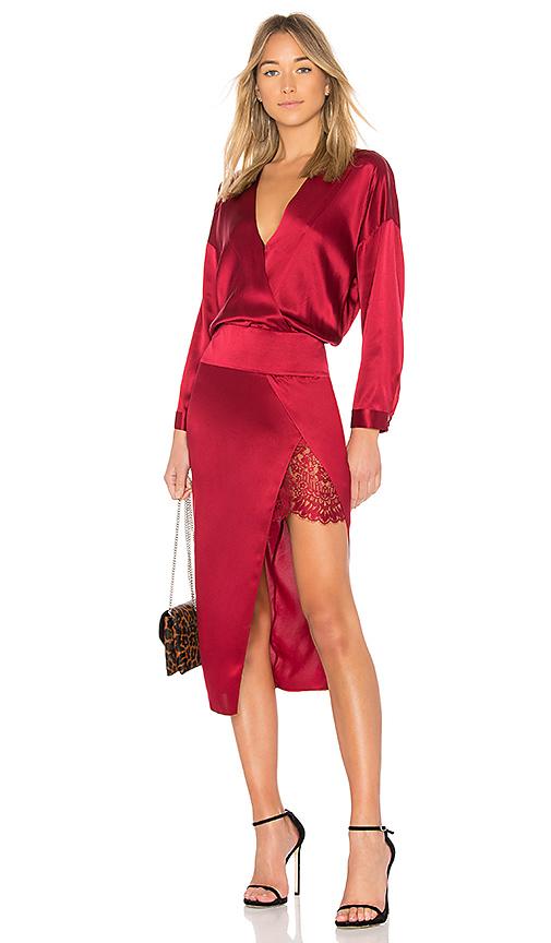 Michelle Mason Obi Lace Dress in Red
