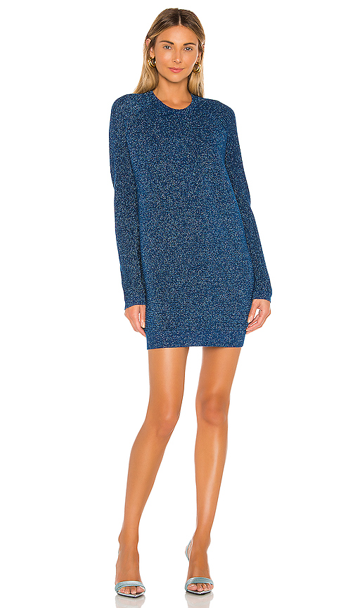 Michelle Mason Dresses MICHELLE MASON SWEATER MINI DRESS IN BLUE.