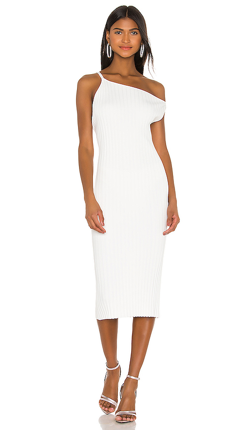Michelle Mason MICHELLE MASON ASYMMETRICAL RIB DRESS IN WHITE.