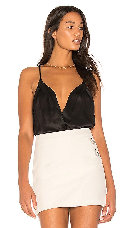 Michelle Mason Cami Wrap Bodysuit in Black