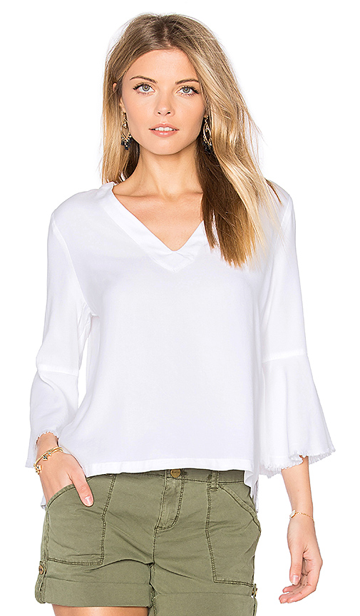 maven west Roxy Frayed Top in White