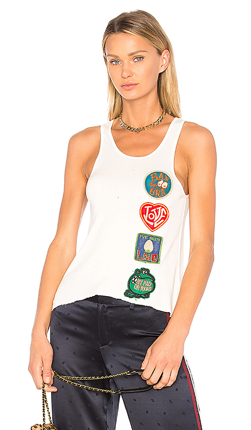 Madeworn Ban The Bra Patch Tank in White