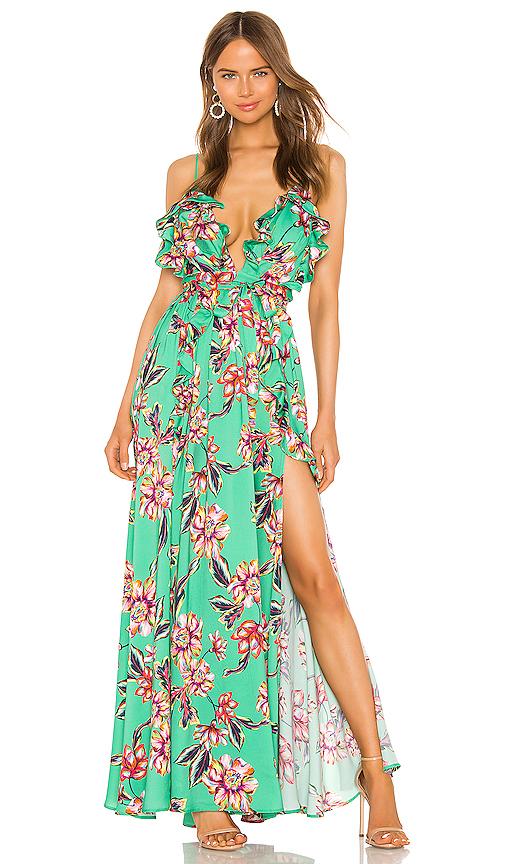 e7cd7d431c59 Michael Costello X Revolve Brielle Gown In Green Floral | ModeSens