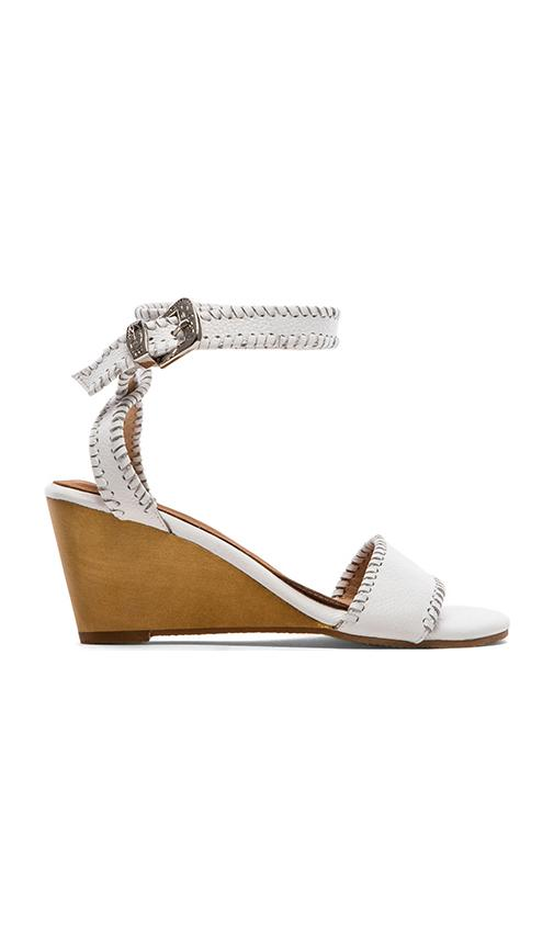 MADISON HARDING Dizzy Ankle Wedge in White