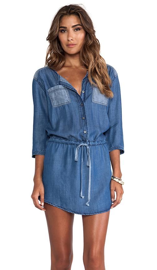 Michael Stars 3/4 Sleeve Button Down Shirt Dress in Blue