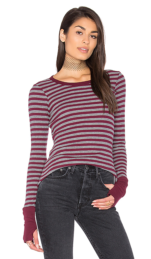 Michael Stars Thermal Striped Sweater in Gray.