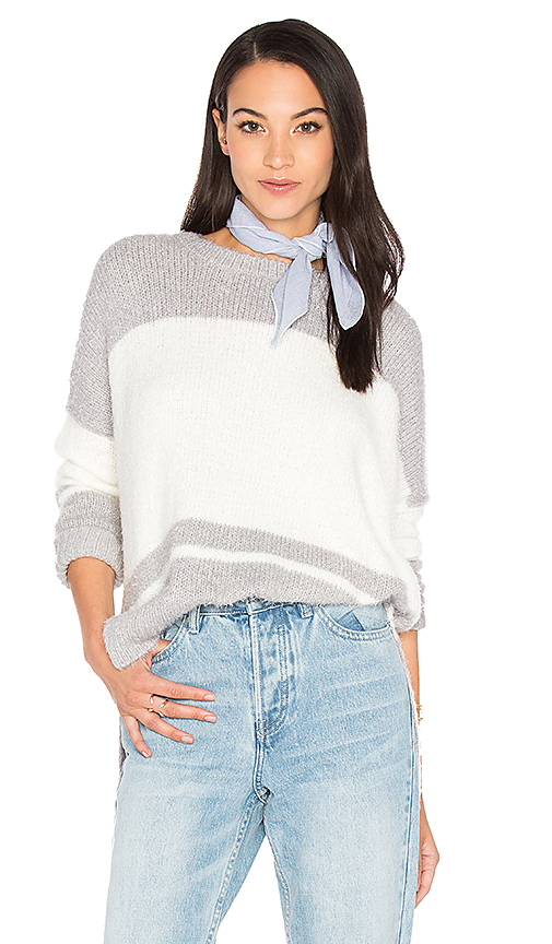 Michael Stars Oversize Striped Sweater in Gray. - size M (also in XS)