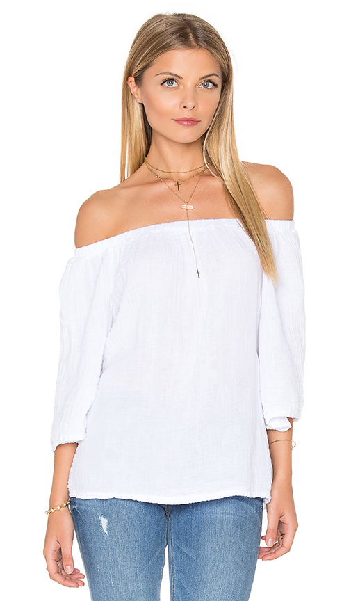Michael Stars Double Gauze Off Shoulder Top in White