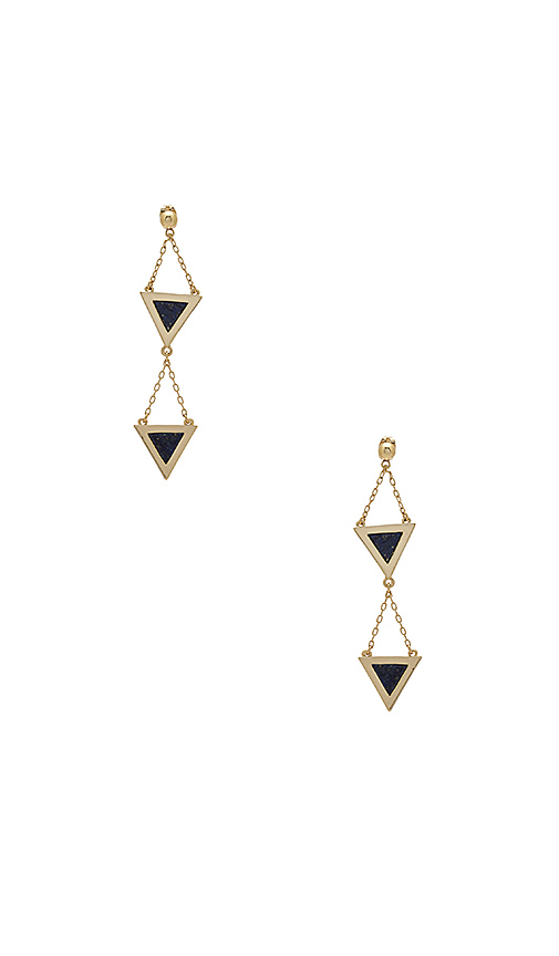 Michelle Campbell Double Tri Stone Inlay Dangle Earrings in Metallic Gold