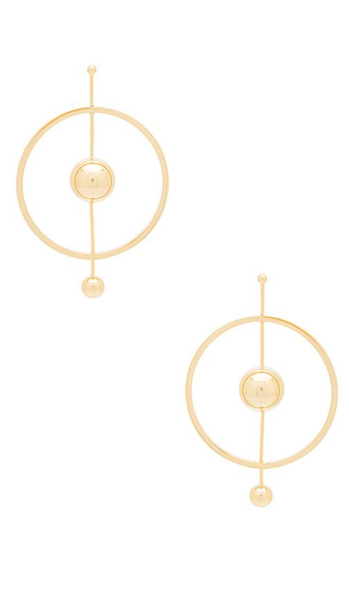 Michelle Campbell Dual Orbit Earrings in Metallic Gold