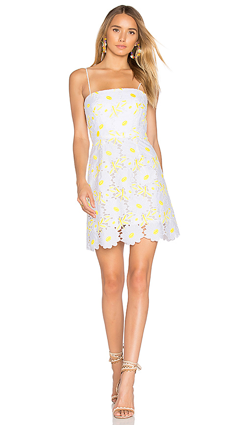 MILLY Petal Lace Dress in Yellow
