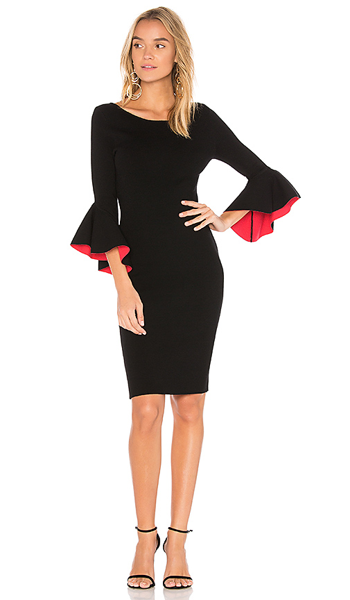 MILLY Contrast Midi Dress in Black. - size S (also in XS)
