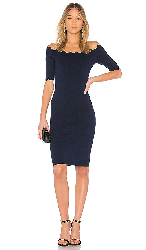 MILLY Pointed Scallop Fitted Dress in Navy