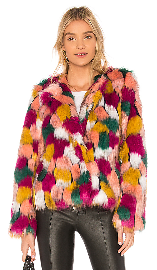 MILLY Faux Fur Jacket in Pink. - size S (also in M,XS)