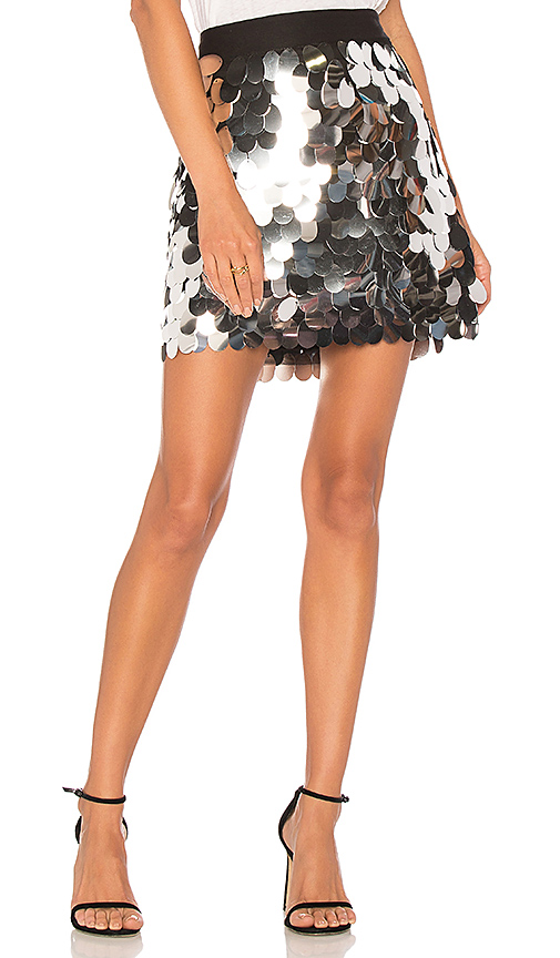 MILLY Sequin Modern Mini Skirt in Metallic Silver. - size 4 (also in 0,2,6)
