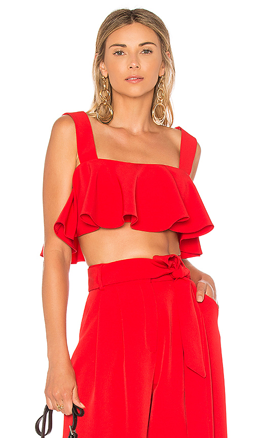 MILLY Ruffle Crop Top in Red