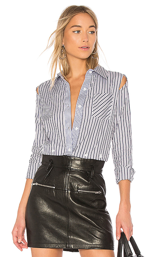 MILLY Stripe Fractured Shirt in Gray. - size 0 (also in 2,4,6,8)