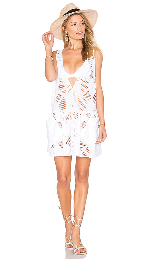 MILLY Cotton Eyelet Deep V Cover Up in White