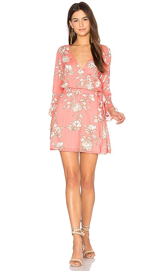 MINKPINK Lovina Wrap Dress in Coral. - size L (also in M)