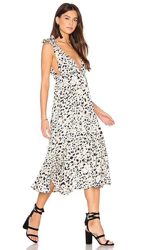 MINKPINK Sumatra Tie Shoulder Midi Dress in Ivory