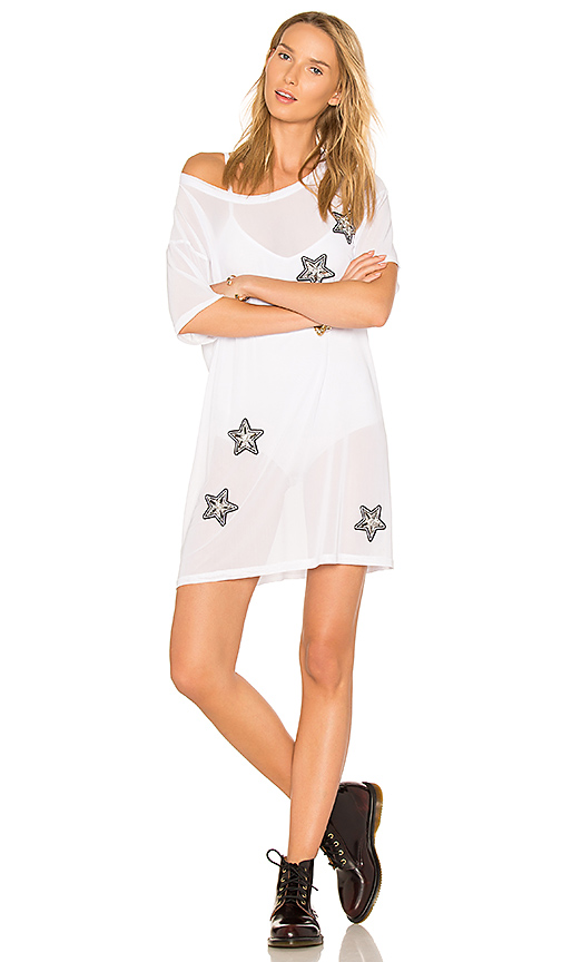 MINKPINK X REVOLVE Stars & Mesh Tee Dress in White