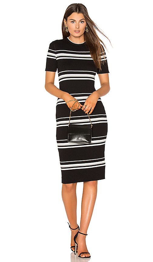 MINKPINK Stripe Rib Sweater Midi Dress in Black. - size L (also in M)