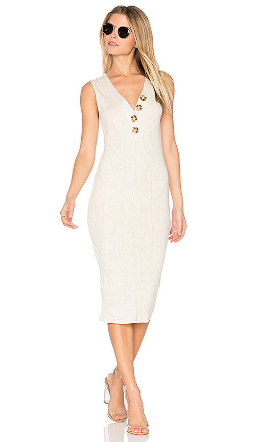 MINKPINK Desert Rib Midi Dress in White