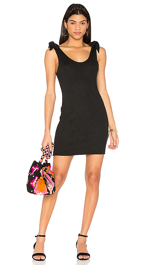 MINKPINK Tongue Tied Tie Shoulder Dress in Black