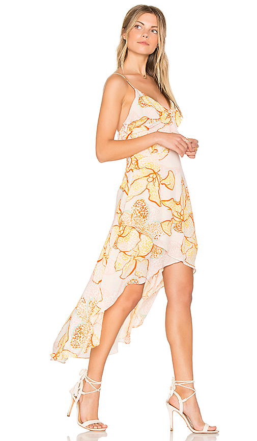 MINKPINK Animal Orchid Flounce Wrap Dress in Yellow. - size L (also in M,S,XS)