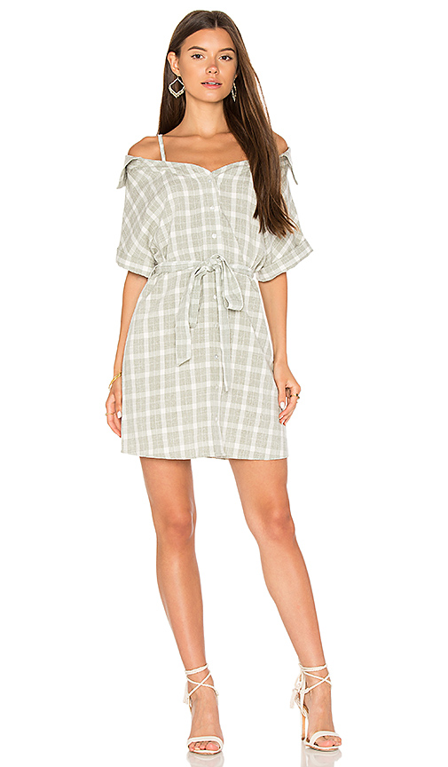 MINKPINK Gingham Off Shoulder Shirt Dress in Gray