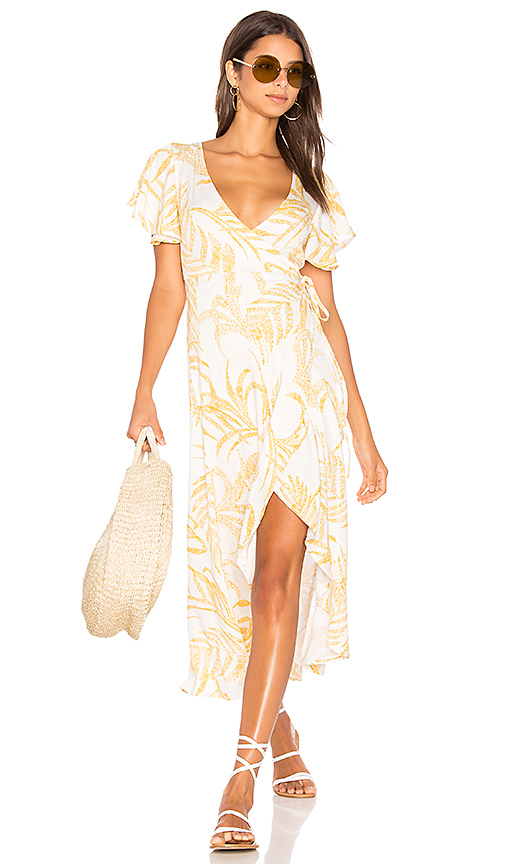 MINKPINK Paradise Waterfall Wrap Dress in Yellow. - size L (also in M,S,XS)