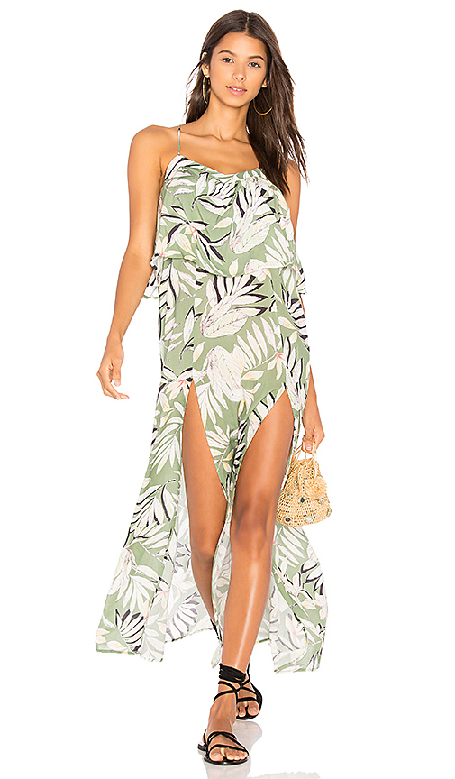 Shop MINKPINK Shady Fronds Maxi Dress in Green online dresses