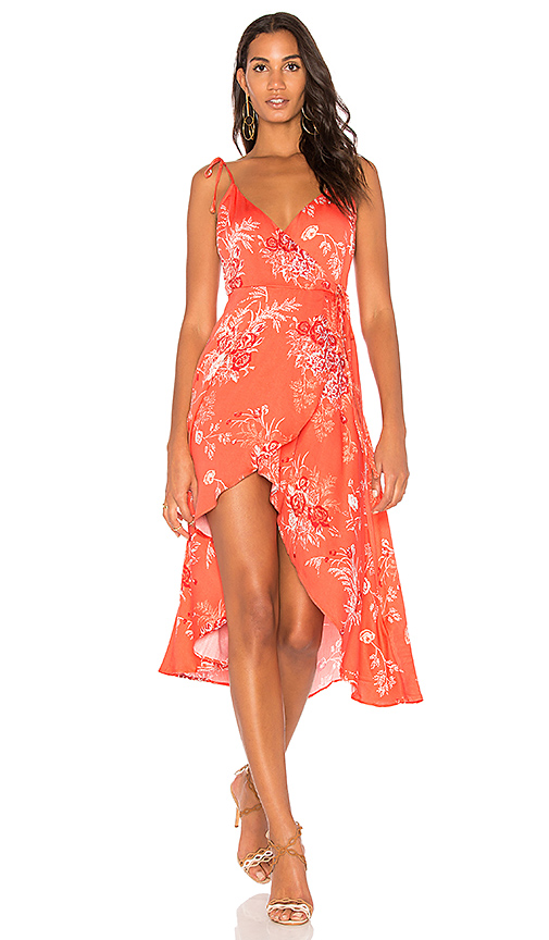 MINKPINK Hotsprings Waterfall Wrap Dress in Red